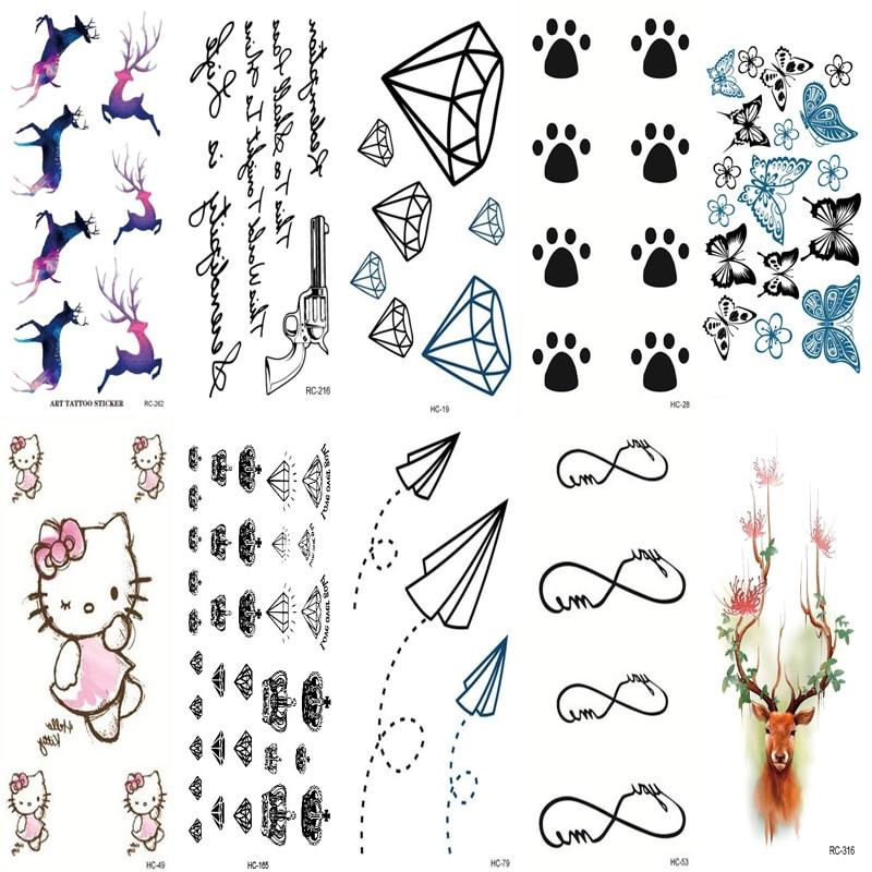 10 PCS Temporary Tattoo Stickers Temporary Body Art Supermodel Stencil Designs Waterproof