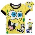 Casual Summer Spongebob Girls T Shirt New Short Sleeve Baby Boys T-shirt Toddler Kids Tops Tees Children Cartoon Clothes