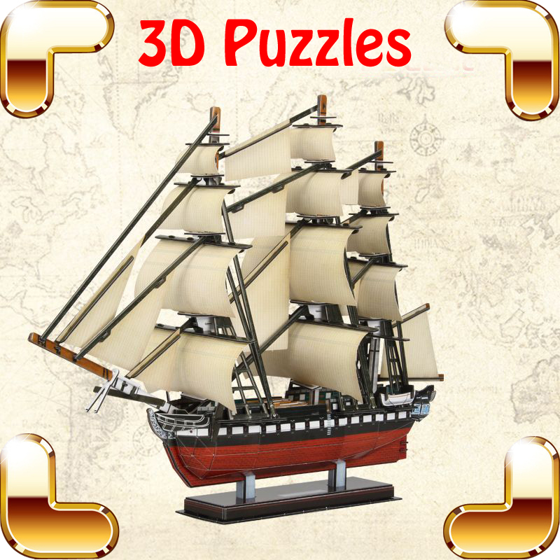 New Year Gift USS Constitution 3D Puzzles Model Ship DIY Sailing House Decoration Education Game Assemble Toys EPS Family Work