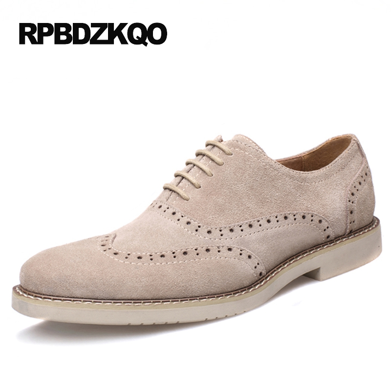 Dress Blue European Oxfords Classic Wingtip Breathable Tan Brown Men Formal Suede Shoes Brogue British Style Business Office