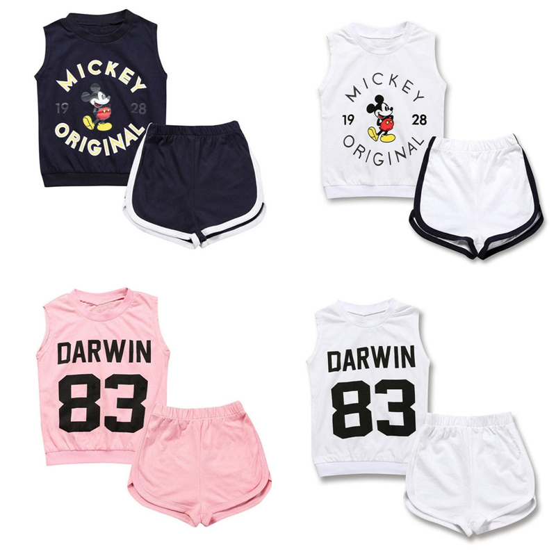 Baby Summer Boys Clothing Sets Childrens Sport Suits Cartoon Mickey Vest + Shorts Suit Kids Girls 2 Pcs Cotton Clothes Set
