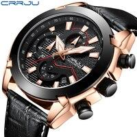 CRRJU Reloj Hombre 2018 Quartz Mens Watches Fashion Creative Sport Wrist Watch Chronograph Leather For Men Relogios Masculino