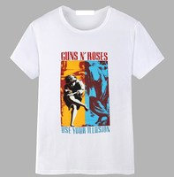 Gildan Guns N Roses Use Your Illusion Duotone Album Cover White T Shirt New Official