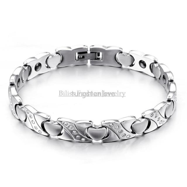 8 66 Inch New Las Jewelry Heart Golf Bracelet Stainless Steel Magnetic Stone Women In Velvet