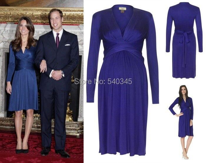 2014 l'arrivée de nouveaux manches longues Kate Middleton robes de maternité genou longueur en mousseline de soie Pageant formelle Celebrity robes K19