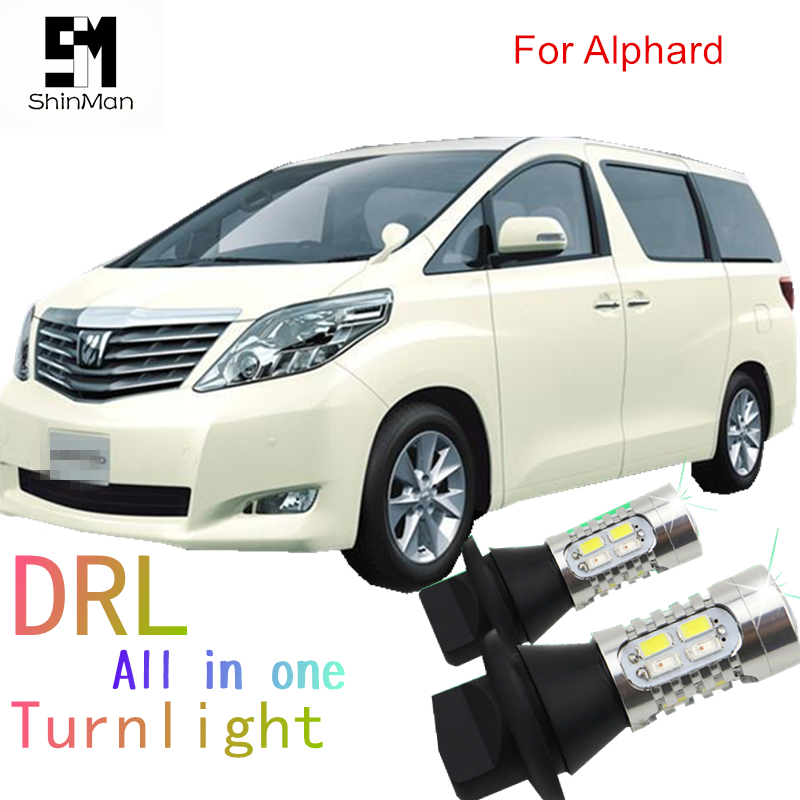 Shinman led DRL Daytime Running Light& Front Turn Signals all in one WY21W 7440 T20 auto led light for toyota alphard ANH20 2009