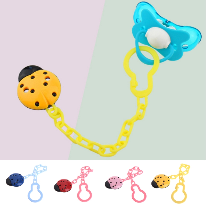 Cute Toddler Baby Ladybug Dummy Pacifier Clip Chain Holder Soother Nipple Strap