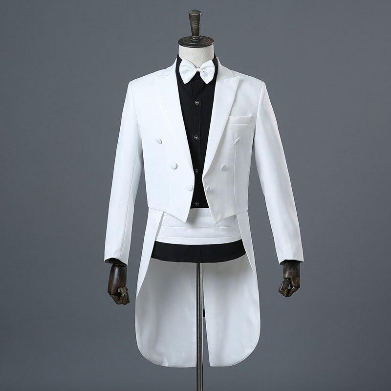 2018 automne hiver classique noir et blanc mariage smoking veste pantalon deux pièces scène magicien Performance Costume pour hommes