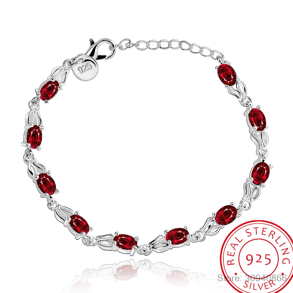 LEKANI Red Topaz Bracelets For Female Real 925 Sterling Silver Deep Red Gemstone Bracelet For Student Birthday Gift