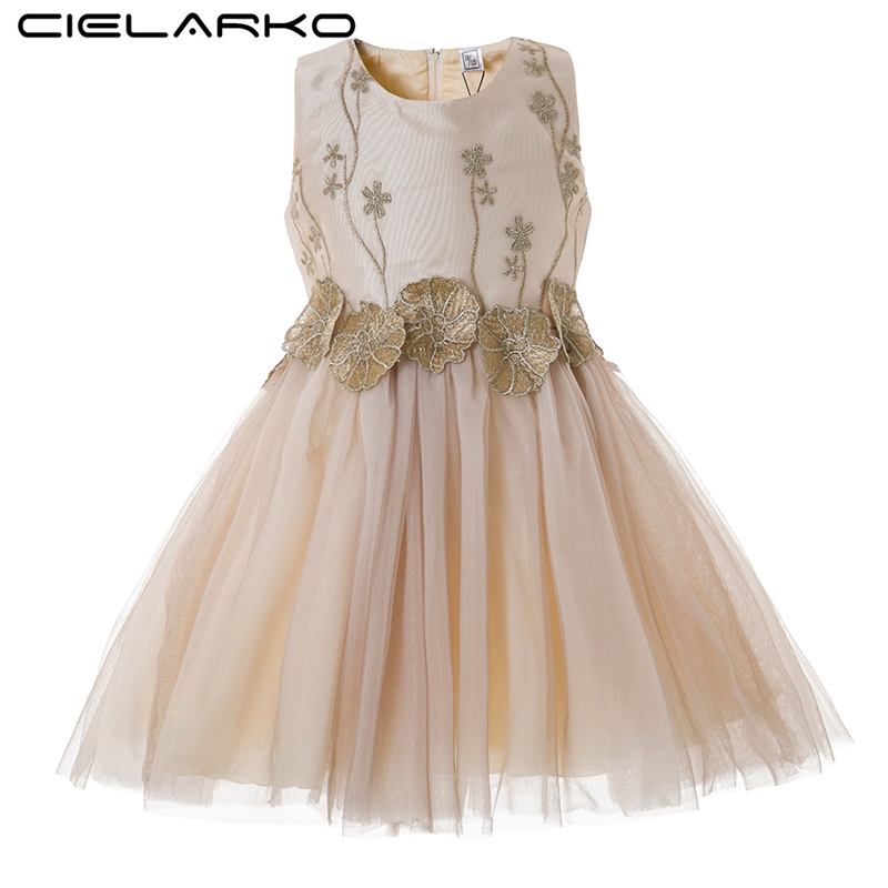 Cielarko Girls Flower Dress Baby Birthday Party Dresses Elegant Applique Children Princess Frocks Wedding Gowns Clothes for Girl цены онлайн