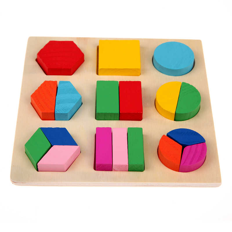 2019 New 1 Pcs Children Baby Wooden Toys Geometric Three-dimensional Jigsaw Puzzles Early Childhood Learned Educational Toys