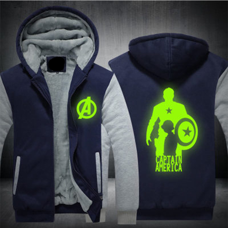 New Winter Jackets and Coats Captain America hoodie Luminous Hooded Fashion Thicken Zipper Men cardigan Sweatshirts US Size