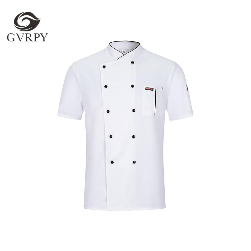 Summer New Unisex Oblique Collar Short Sleeve Chef Uniform Hotel Restaurant Food Service Chef Jacket Waiter Work Shirt Uniform