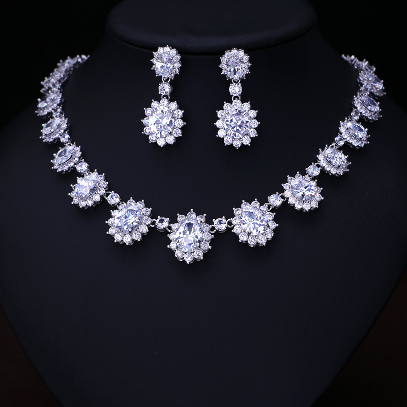 Clear Fashion AAA Cubic Zircon Wedding Jewelry Sets ,Earrings /Necklace,Promotion,Nickel Free, Factory price
