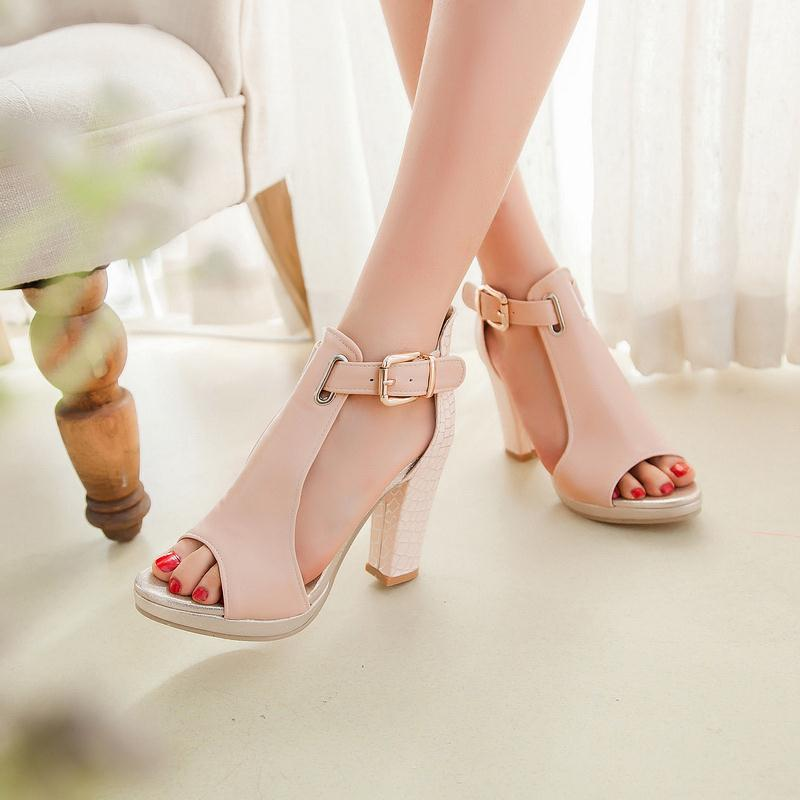 84821cb5a3d EGONERY sandals 2017 fashion summer pumps sexy peep toe women s high heels  3 color platform shoes woman T Strap shoes sandals-in Women s Sandals from  Shoes ...