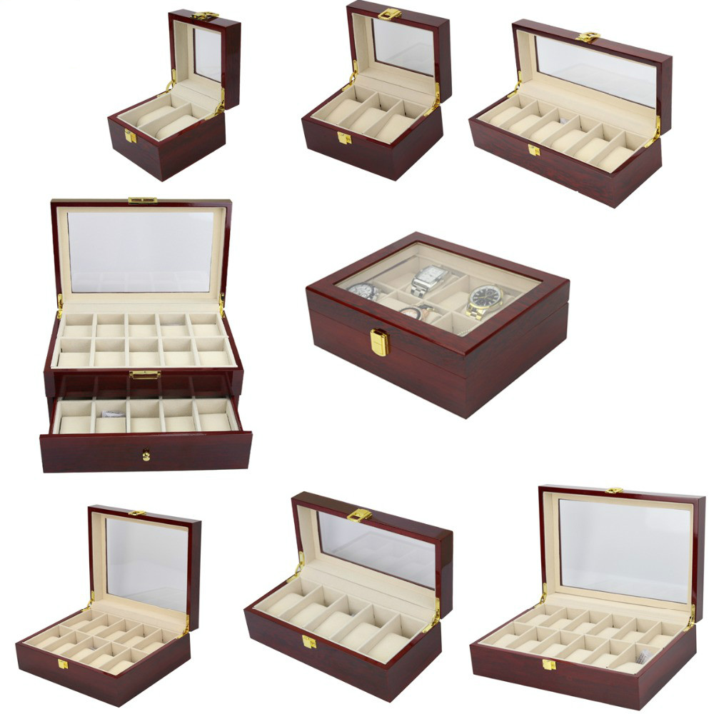 LISM Storag-Boxes Holder Organizer Case Watch-Box Jewelry Display Wood Luxury 2/3/5-/..