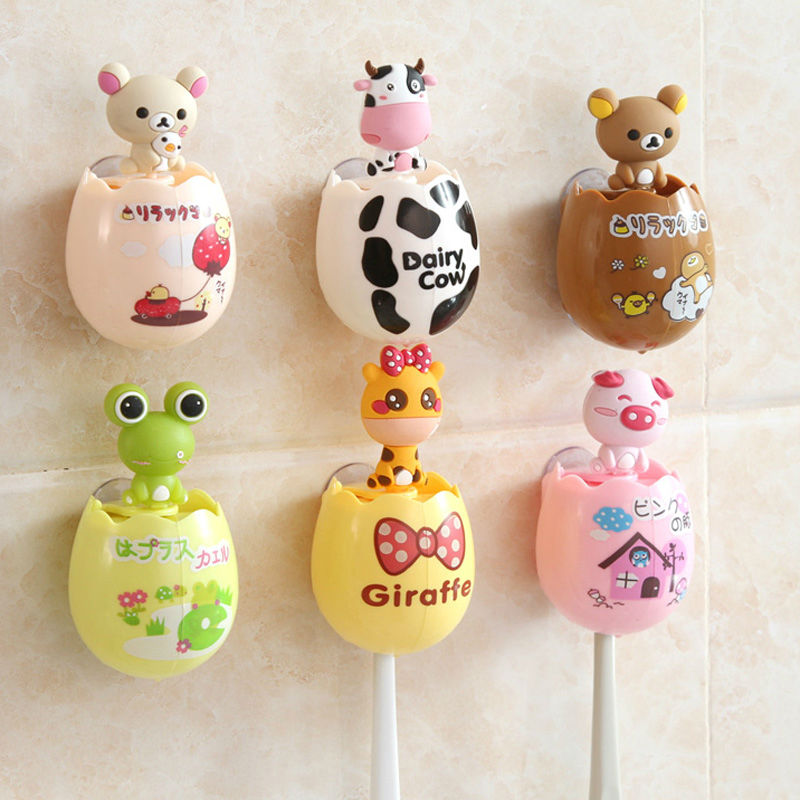 Cute Egg Shape Cartoon Animal Toothbrush Holder Creative Double Sucker Toothbrush Cases Cover Bathroom Accessories Sets image