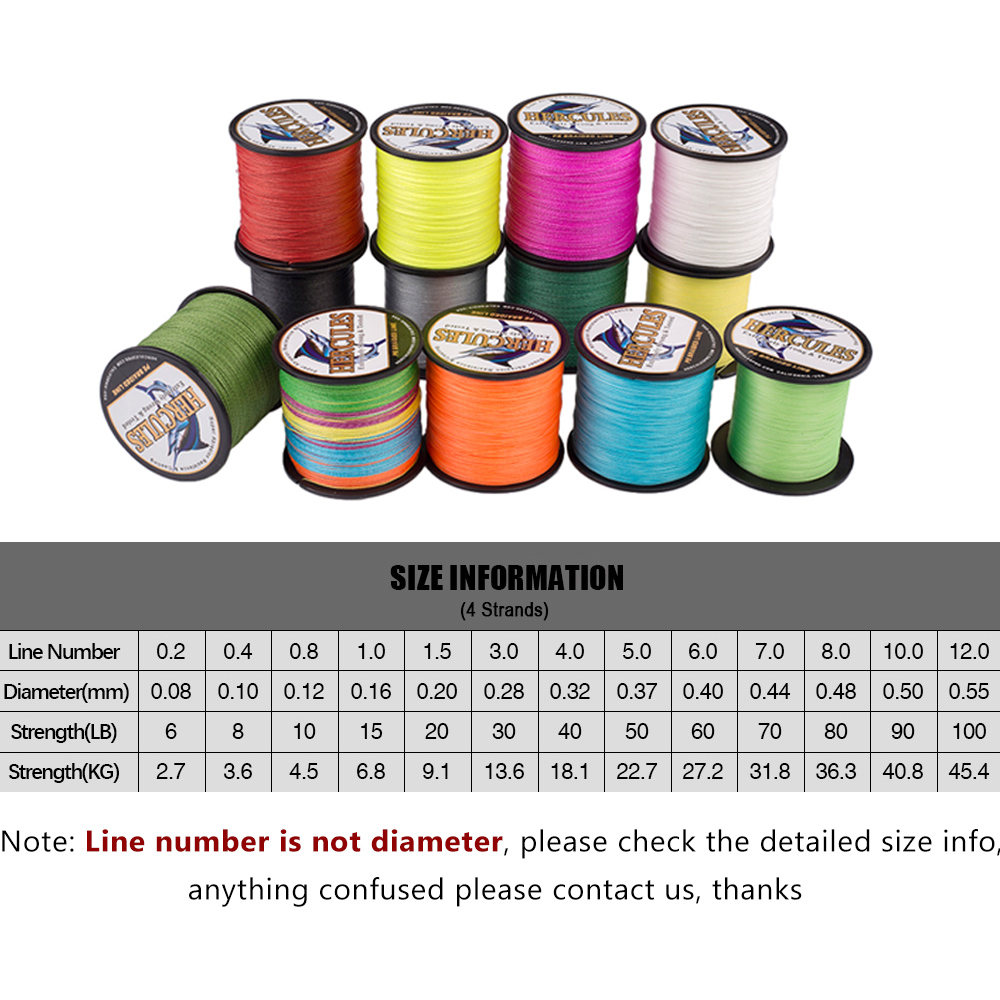 Details about  /Hercules 8lbs 4 Strands 1000M 1094 Yards Braided Fishing Line Super Camouflage