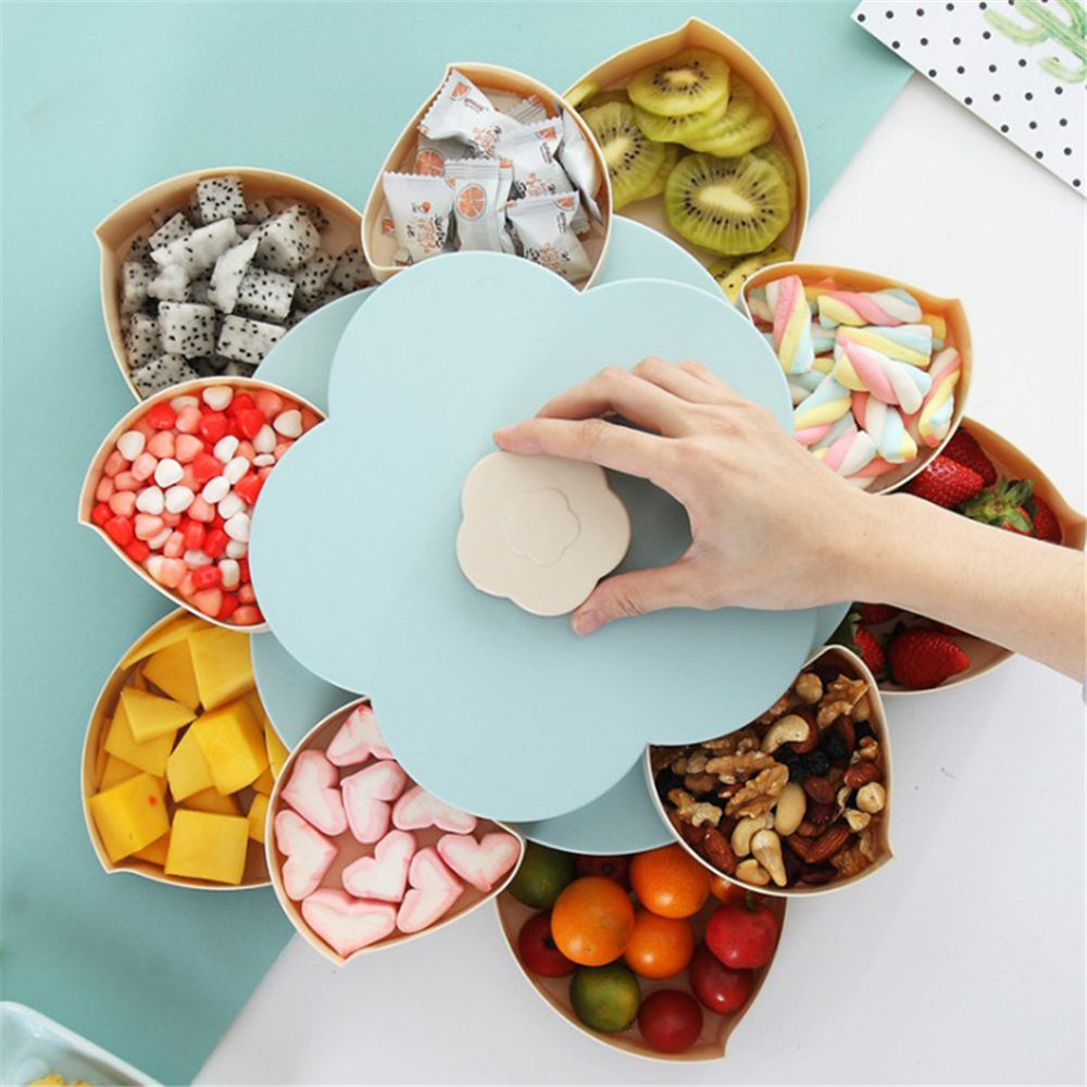 Kids Children Food Candy Storage Box Bloom Rotating Jewelry Organizer Snack Seed Nuts Container for Home Storage Organization in Storage Boxes Bins from Home Garden