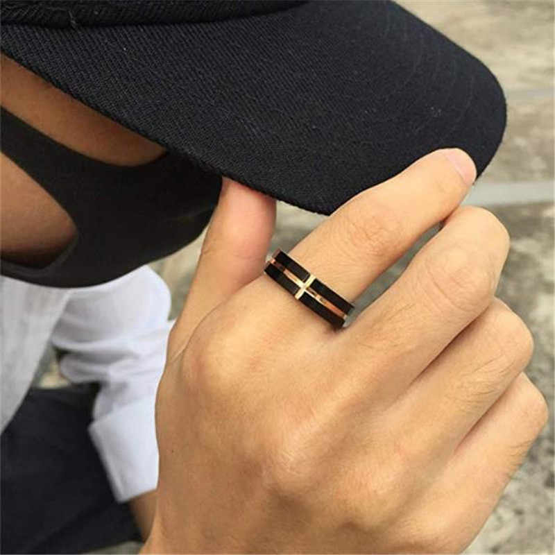 6mm aço inoxidável cruz sulco plana anel de casamento bandas christian jesus senhor oração cruz anel para homens feminino personalizado