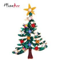 Árbol de navidad Verde Del Esmalte broche de Clip de Cuello Rhinestones Accesorios de Joyería de Moda Broches Mejores Regalos de Año Nuevo para Las Mujeres