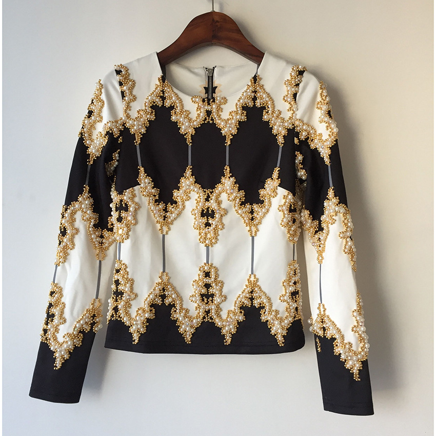 and America burst paragraph 2017 spring and summer show, Baroque luxury heavy nails, beads zipper jacket