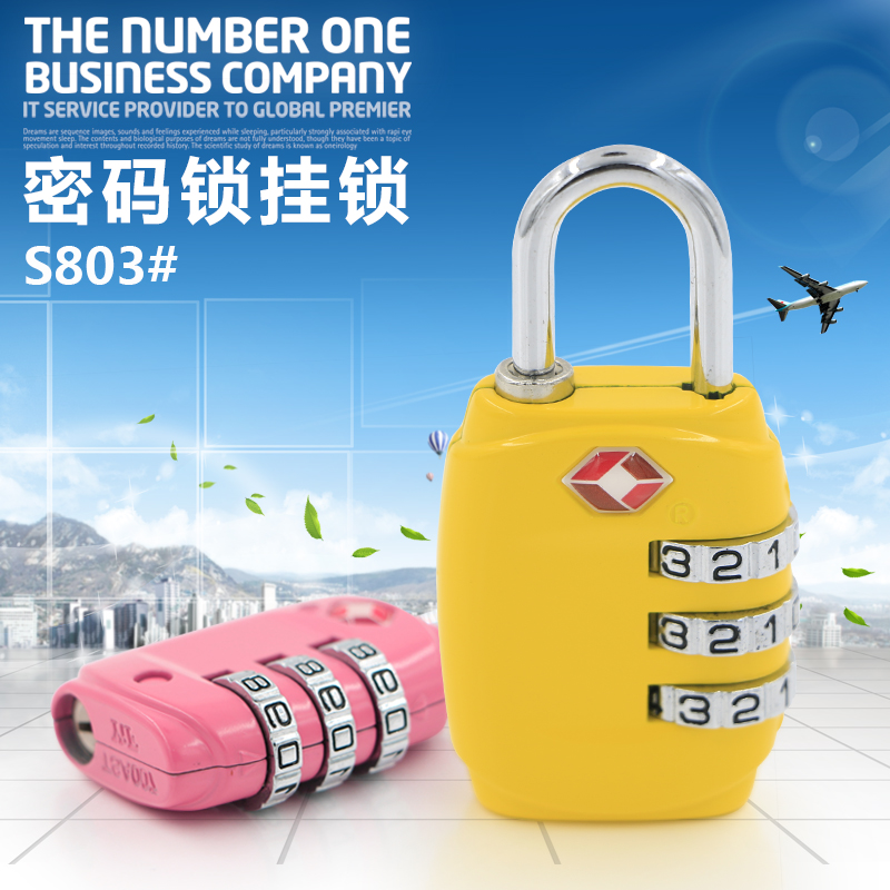 TSA Resettable 3 Digit Dial Combination Travel Suitcase Luggage Bag Security Code Lock Padlock Blue Zinc Alloy S803#