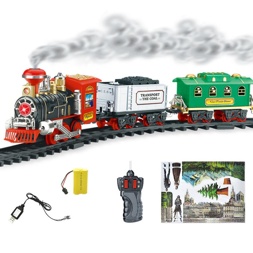 Remote Control Conveyance Car Electric Steam Smoke RC Train Set Model Remote Electric Control Toys gift for children #TX4