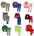Hot Casual New Completa Calças + Camisas Terno Roupa Dos Miúdos Conjuntos de Pijama Meninos Meninas Homem-Aranha Super Homem Conjunto primavera Pijamas das Crianças