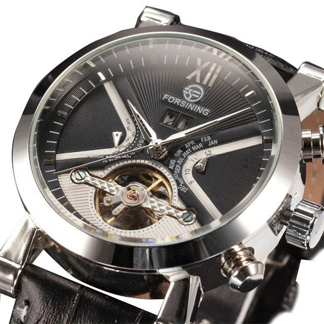 Nueva llegada caja de acero inoxidable de cuerda automática reloj de pulsera mecánico Mens banda de cuero negro se visten los relojes para hombre