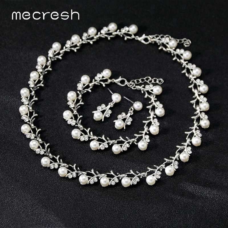 Mecresh Simulated Pearl Bridal Wedding Jewelry Set Women Silver/Gold Cute Small Branch Necklace Drop Earrings Bracelet Set TL578