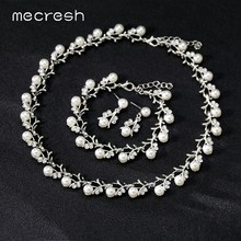 Mecresh Simulated Pearl Bridal Wedding Jewelry Set Women Silver/Gold Cute Small Branch Necklace Drop Earrings Bracelet Set TL578(China)