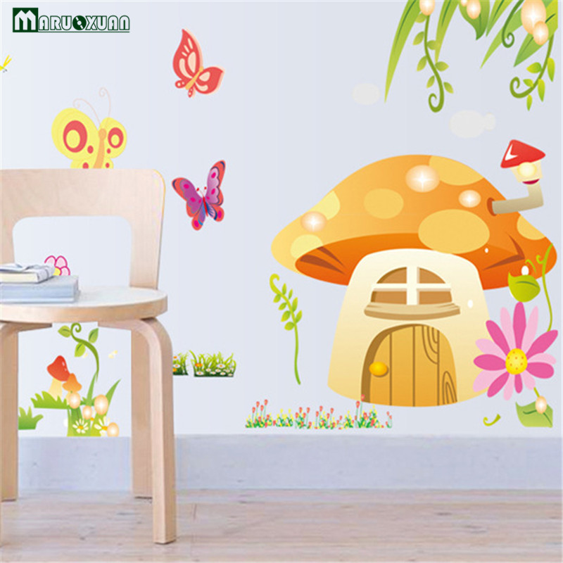 Maruoxuan Removable Baby Room Cute Mushroom House Butterfly Vinyl Wall Stickers For Kids Room Living Room Home Decor Wallpaper
