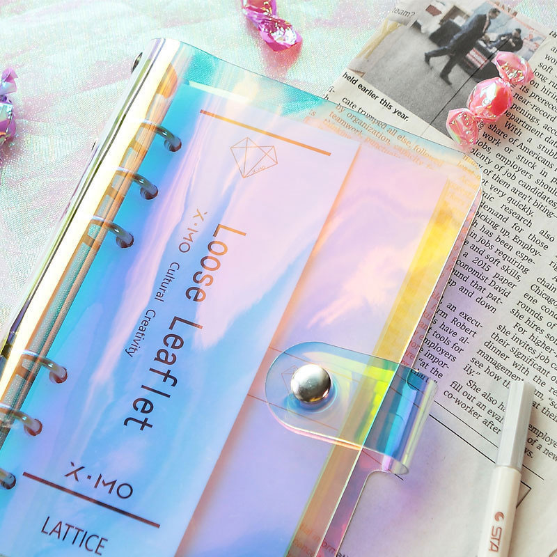 PVC Diary Book Planner Clips Laser Binder Loose Leaf Ring Notebook Cover