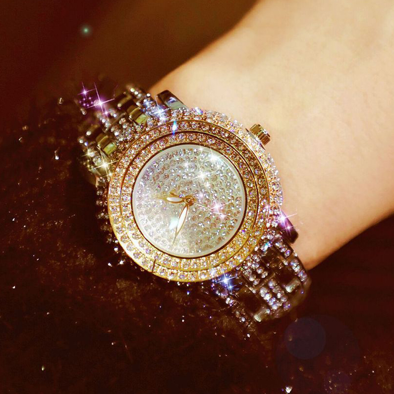 2019 New Luxury Crystal Watch Stainless Steel Bling Quartz Watch Rhinestone Women Watches Clock Female Ladies Dress Wristwatch