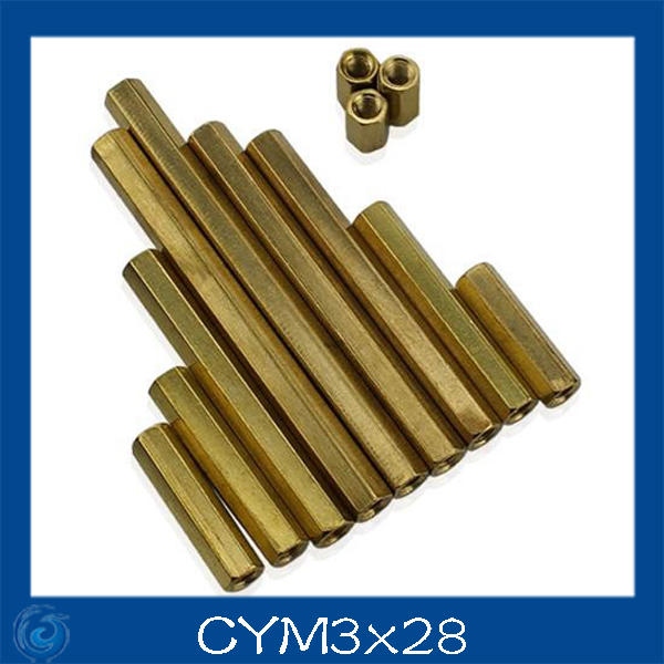 M3*28mm Double-pass Hexagonal Screw nut Pillar Copper Alloy Isolation Column For Repairing New High Quality