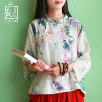 LZJN Original 3/4 Sleeve Floral Blouse 2019 Spring Summer Tops for Women Traditional Chinese Clothing Cheongsam Top Qipao Shirt