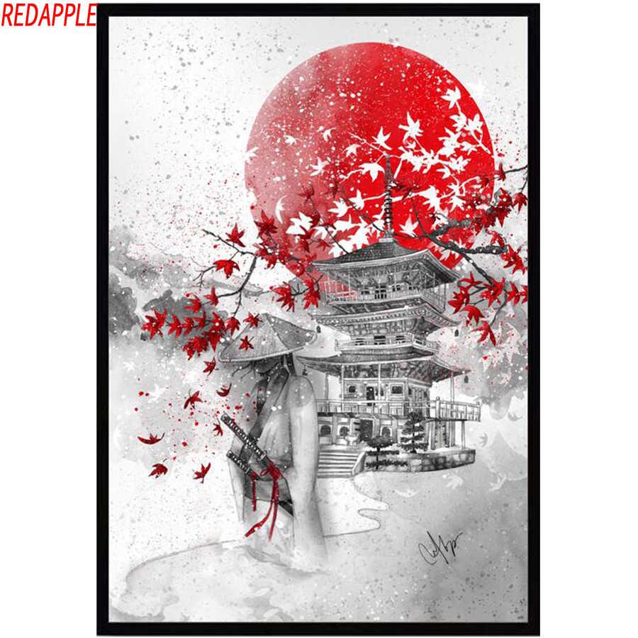Takehisa pájaro rojo japonés Pintura Cuadrado Enmarcado Arte de Pared 16X16 en