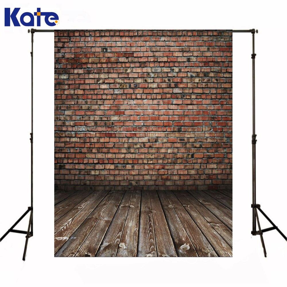 Kate nouveau-né bébé Fotografia décors rouge brique mur Photocall fond brun bois plancher toile de fond pour Photo Shoot