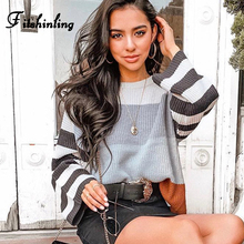 цена Fitshinling 2019 Striped Fashion Ladies Sweater New Arrival Long Sleeve Pullovers Sweaters For Women Knit Jumper Pull Femme Sale