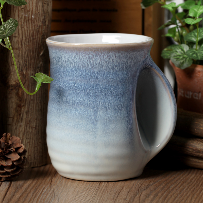 New Whole Creative Gifts Home Decoration Unique Fambe Glaze Shaped Handmade Handle Ceramic Coffee Milk Tea Cup Mug In Cups Mugs From