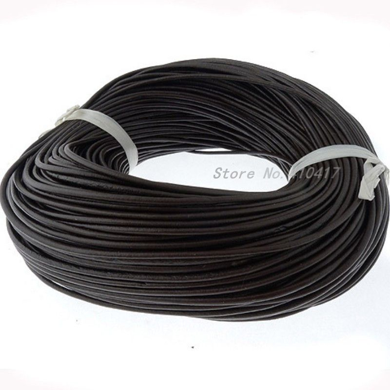 Top Quanlity 3mm 100m Brown Color Smooth Round Geunine Leather Cord Jewelry Findings Free Shiping