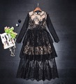 Top Quality Fashion Luxury Style 2017 Spring Women Party Elegant Lace Floral Long Sleeve Cake Princess Evening Sexy Dress Festa