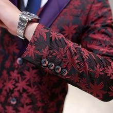 Mid Long Embroidery Floral Suit for Mens 3 Pieces (Jacket + Vest + Pants) Wedding Suit Slim Fit  Jacquard Tuxedo Terno Masculino