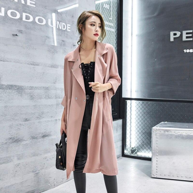 Mujeres Coat Para white pink Trench Gasa Largo Windbreaker Cinturón La Caliente Otoño Abrigos 2018 Las Del Ou black Trabajo Suelta Oficina Verano Se Venta De Señora Lx186 W6470xOFwF
