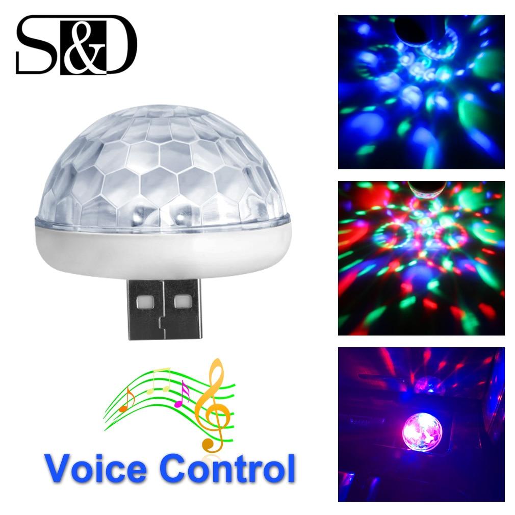 S&D Multi Color LED Car USB Atmosphere Light Decorative Bulb Mini RGB Music Sound Lamp Phone Surface For Festival Party Karaoke