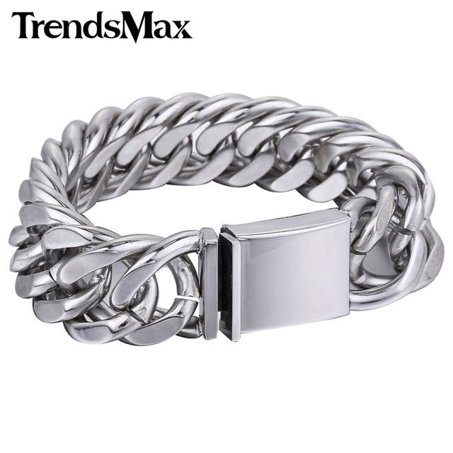Trendsmax 20mm Heavy Silver Color Cut Curb Link 316l Stainless Steel Bracelet Mens Chain Boys Fashion