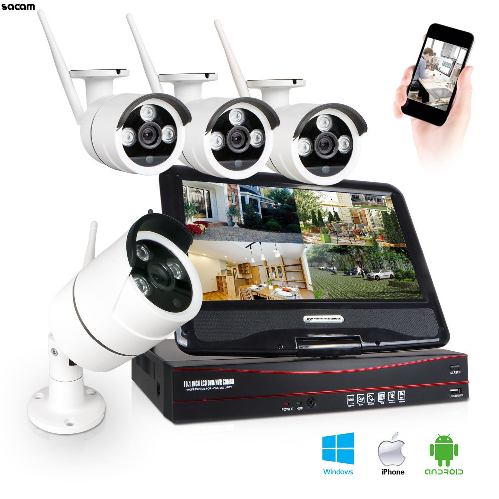4CH 960P HD WiFi Security CCTV Camera System Wireless Network Surveillance NVR Kit Outdoor CCTV Camera Set with Monitor 10.1""