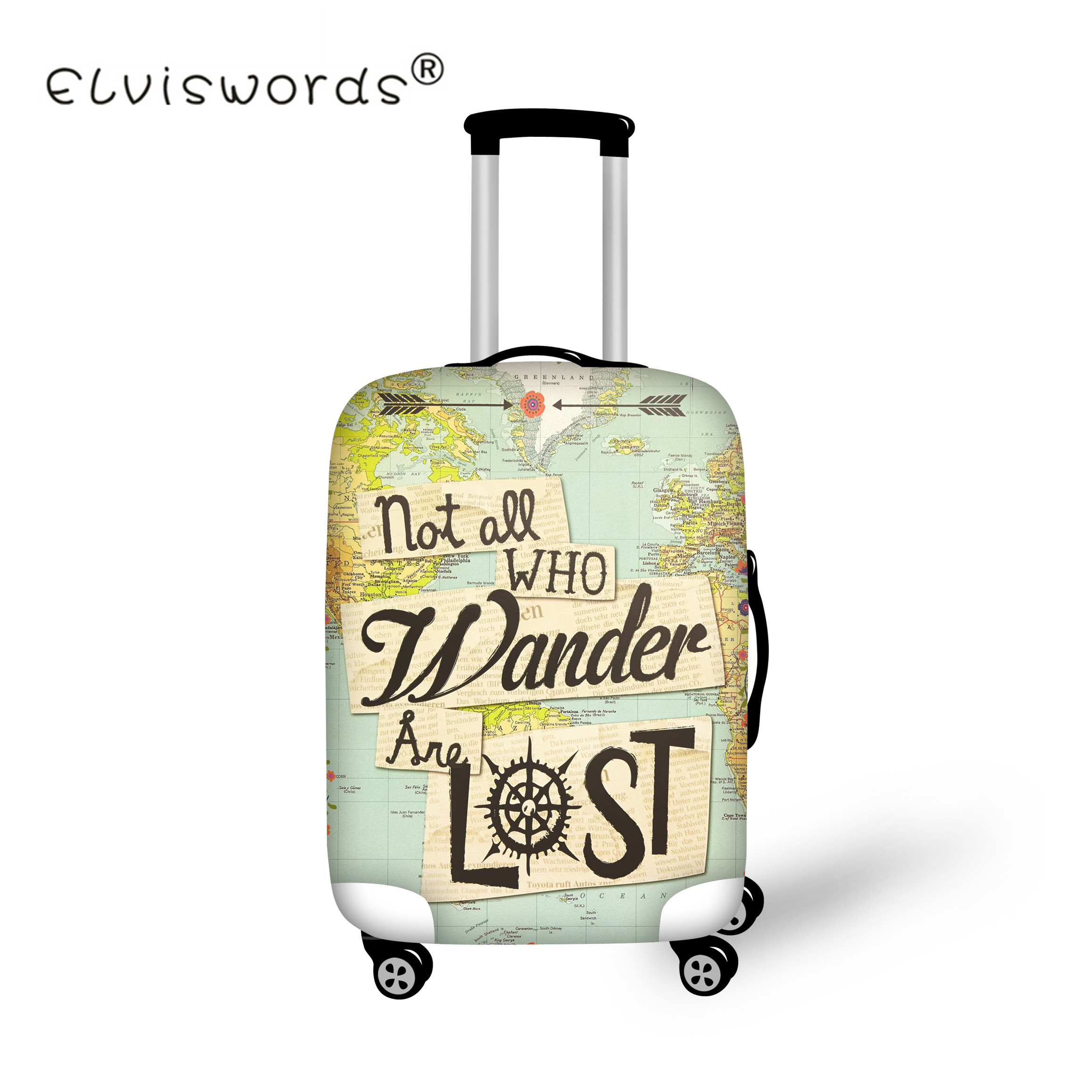 ELVISWORDS Retro Elastic Travel Accessories For 18-30 Inch Map Letter Print Suitcase Luggage Protect Cover Travel Baggage Covers