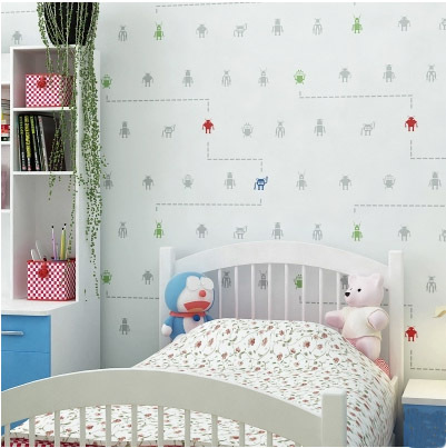 2015 new arrival unique robot design kids room decor for Kids room wall paper